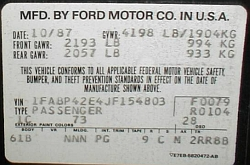 1988 Mustang GT certification label